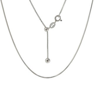 Sterling Silver Italian Adjuster Box Necklace