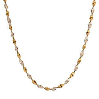 Sterling Silver Italian Twisted Two-tone Herringbone Necklace
