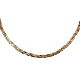 Sterling Silver Italian Three Strand Herringbone Necklace