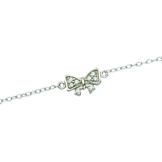 Rhodium-plated Sterling Silver Cubic Zirconia Bow Anklet