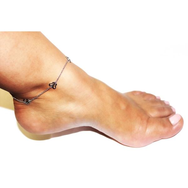 "10/"" 925 Sterling Silver Rose /& Rhodium /& Gold Plate Tri-Color Weaved Anklet"