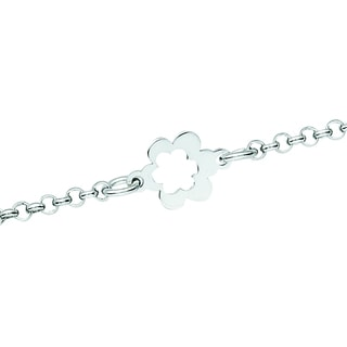 Rhodium-plated Sterling Silver Open Flower Anklet