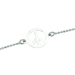 Sterling Silver Rhodium Peace Anklet