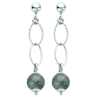 Black and Rhodium-plated Sterling Silver Italian Satin Diamond-cut Ball Drop Post Dangle Earrings