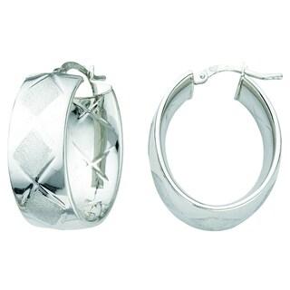 Italian Rhodium-plated Sterling Silver Satin Wide Marqueise Oval Hoop Earrings