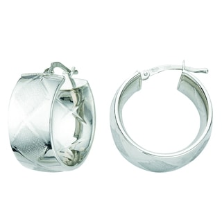 Rhodium-plated Sterling Silver Italian Satin Wide Band Marquise Hoop Earrings