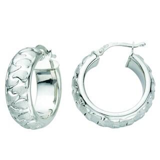 Rhodium-plated Sterling Silver Italian Satin Kidney Bean Design Hoop Earrings