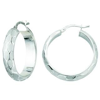 Rhodium-plated Sterling Silver Italian Satin Pebble Design Hoop Earrings