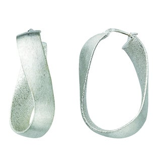 Rhodium-plated Sterling Silver Italian Satin Finish Oval Curved Hoop Earrings