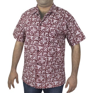 La Leela Men's 100-percent Cotton Red Printed Hawaiian Shirt