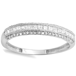 Elora 14k White Gold 1/2ct TDW Princess and Round Diamond Wedding Band