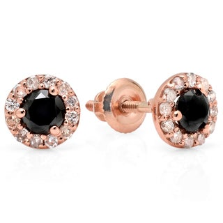 14k Rose Gold 3/5ct TDW Round-cut Black and White Diamond Cluster Stud Earrings (I-J, I2-I3)