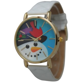 Olivia Pratt Women's Quilted Band Holiday Watch (Option: Snowman with White band)
