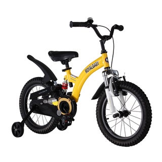 Royalbaby Flying Bear Full Suspension Kids Bike Perfect Gift for Kids, Boys Bike, Girls Bike, Sport Bike, 14 Inch Wheels, Yellow