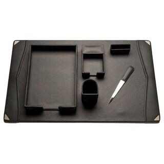 Bey Berk Grey Leather 6-piece Desk Set