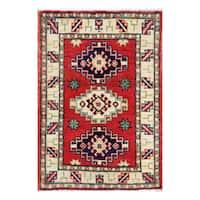 Handmade Herat Oriental Afghan Vegetable Dye Tribal Kazak Wool Rug - 1'11 x 2'10 (Afghanistan)
