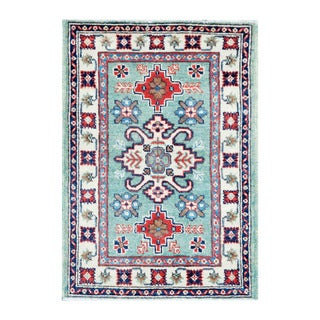 Herat Oriental Afghan Hand-knotted Tribal Vegetable Dye Kazak Turquoise/ Ivory Wool Rug (2' x 2'11)