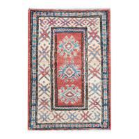 Handmade Herat Oriental Afghan Tribal Vegetable Dye Kazak Wool Rug (Afghanistan) - 1'9 x 2'5