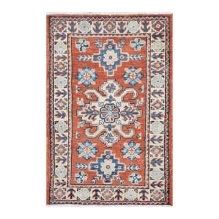 Herat Oriental Afghan Hand-knotted Tribal Vegetable Dye Kazak Rust/ Ivory Wool Rug (2' x 3'1)