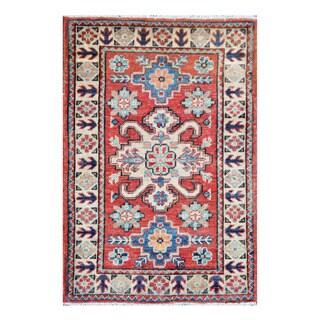Herat Oriental Afghan Hand-knotted Tribal Vegetable Dye Kazak Wool Rug (2' x 3')