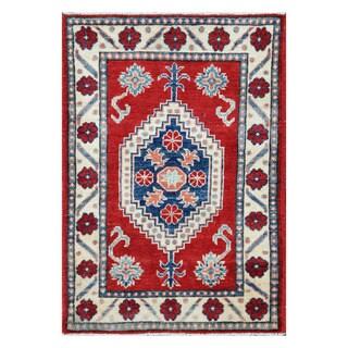 Handmade Vegetable Dye Kazak Wool Rug (Afghanistan) - 2'3 x 3'4