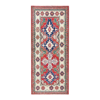 Herat Oriental Afghan Hand-knotted Tribal Vegetable Dye Kazak Red/ Ivory Wool Rug (2'3 x 5'4)