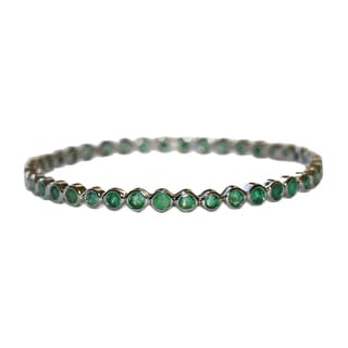 Emerald Bangle in Antiqued Sterling Silver