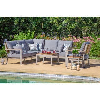 Corvus Jasmine Heavy-duty Aluminum 6-piece Outdoor Deep Seating Set with Sunbrella Fabric Cushions