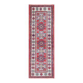 Herat Oriental Afghan Hand-knotted Tribal Vegetable Dye Kazak Red/ Ivory Wool Rug (1'11 x 5'10)