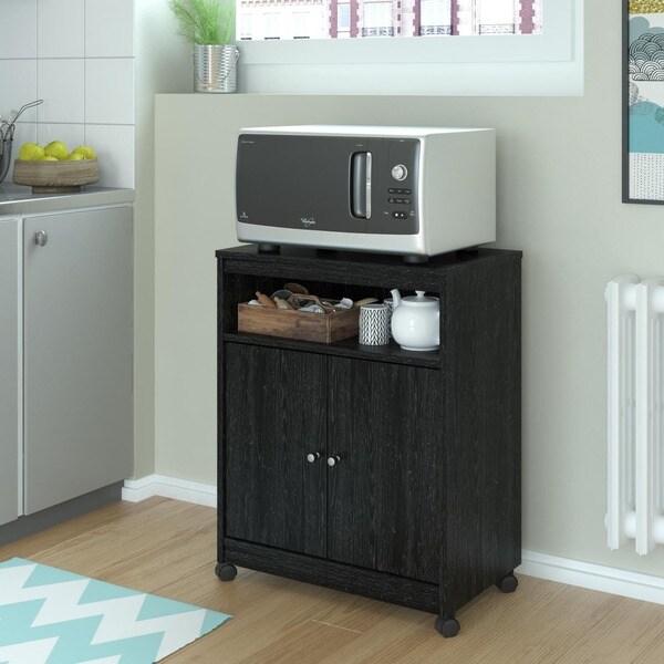 Overstock Altra Black Stipple Kitchen Beverage Cart