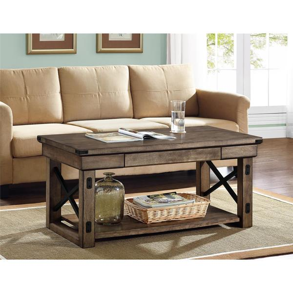 Altra Wildwood Rustic Grey Wood Veneer Coffee Table