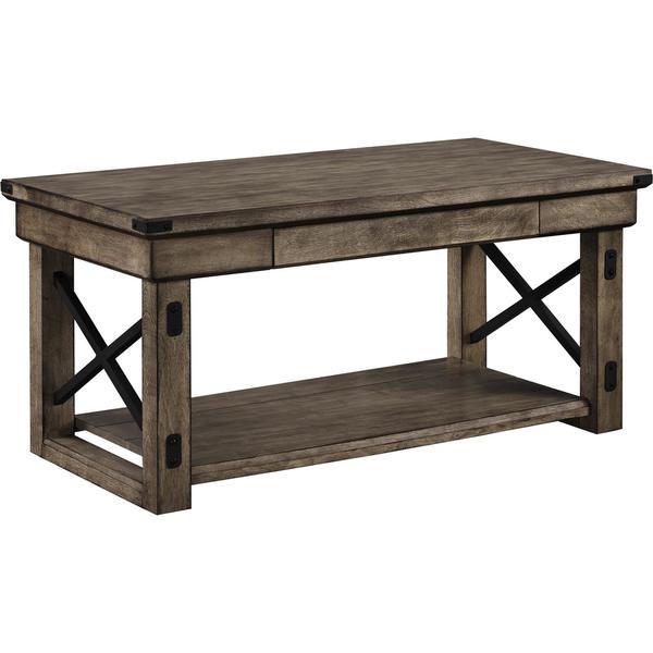 Ameriwood Home Wildwood Rustic Grey Wood Veneer Coffee Table   Free  Shipping Today   Overstock.com   17425310