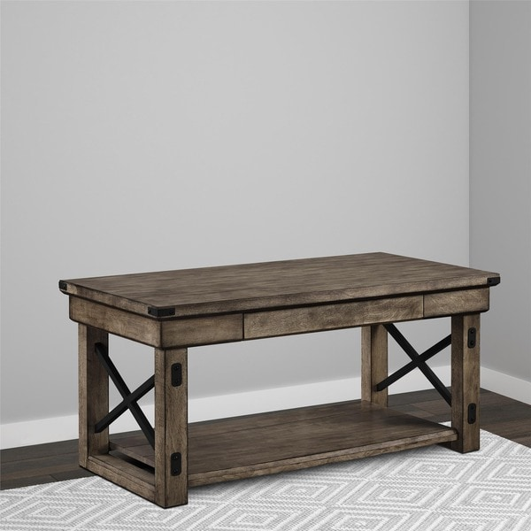 Avenue Greene Woodgate Rustic Grey Wood Veneer Coffee Table