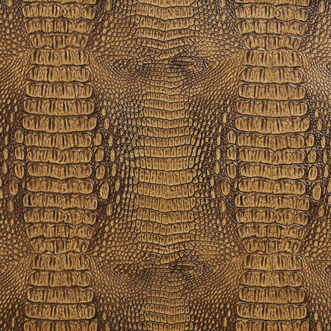 G035 Brown, Crocodile Faux Leather Upholstery Vinyl