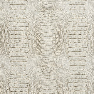 G032 White and Gray, Crocodile Faux Leather Upholstery Vinyl