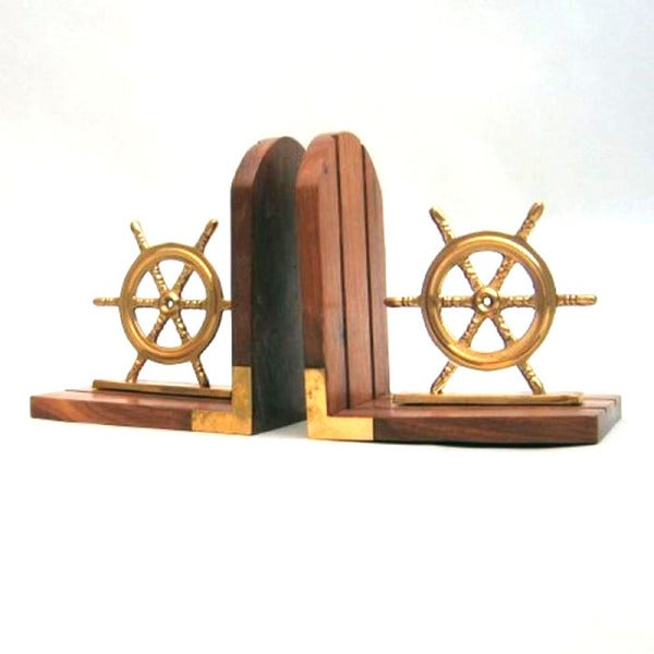 Wooden Ship Helms Bookend Pair