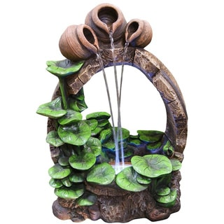 Barrel Pot Cascading Fountain with LED Lights