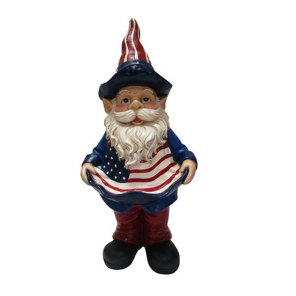 22-inch Americana Gnome with Birdfeeder