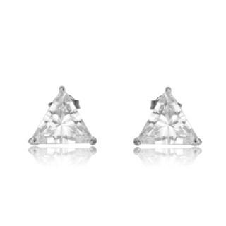 Collette Z Sterling Silver Cubic Zirconia Triangle Shape Earrings