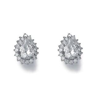 Collette Z Sterling Silver Cubic Zirconia Pear Shape Earrings