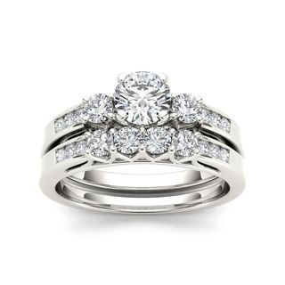 De Couer 14k White Gold 1 1/4ct TDW Diamond Three-Stone Engagement Ring Set - White H-I