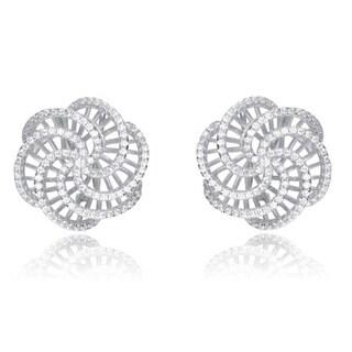 Collette Z Sterling Silver Cubic Zirconia Flower Shape Earrings