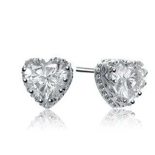 Collette Z Sterling Silver Cubic Zirconia Heart Shape Earrings