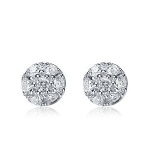 Collette Z Sterling Silver Cubic Zirconia Round Stud Earrings