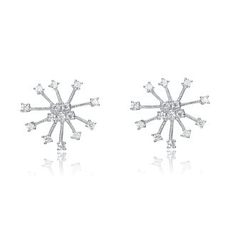Collette Z Sterling Silver Cubic Zirconia Fancy Sparkle Earrings