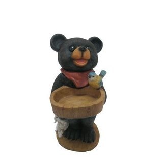 Bear Statue with Decorative Birdfeeder