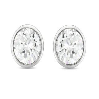 Collette Z Sterling Silver Cubic Zirconia Oval Stud Earrings