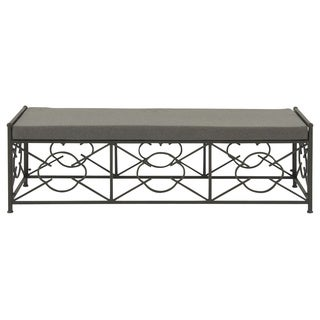 Black Metal Upholstered Outdoor Bench