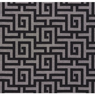 A0270a Black Silver Shiny Geometric Maze Silk Look Upholstery Fabric