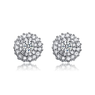 Collette Z Sterling Silver Cubic Zirconia Round Stud Earrings